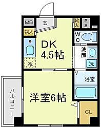 ラルーチェ逢阪[2階]の間取り