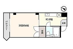 アシスト第7青森マンション 3階1Kの間取り