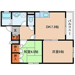 近鉄大阪線 桜井駅 徒歩3分の賃貸マンション 3階2DKの間取り