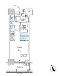 新交通ゆりかもめ 芝浦ふ頭駅 徒歩8分の賃貸マンション 8階ワンルームの間取り