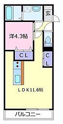 R-SIDE PALACE北野田 2階1LDKの間取り
