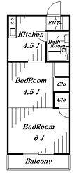 花園スカイマンションB[1階]の間取り