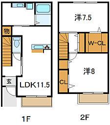 Osaka Metro谷町線 大日駅 徒歩8分の賃貸アパート 1階2LDKの間取り