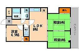 プライム守口 4階3LDKの間取り