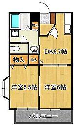 プレジデントタカヤ6 B棟 2階2DKの間取り