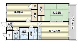 大阪府高槻市真上町6丁目の賃貸マンションの間取り