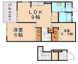 シャルマン・横田 B[2階]の間取り