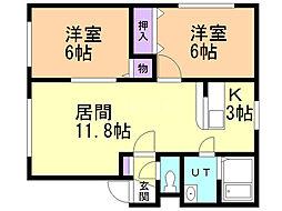タケエイハイムIII 2階2LDKの間取り