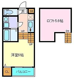 ハーモニーテラス西中田IV 2階1Kの間取り