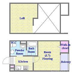 JR東海道・山陽本線 鷹取駅 徒歩14分の賃貸アパート 2階1Kの間取り