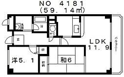 ライフコート上汐[7階]の間取り
