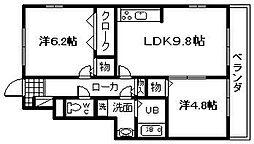 大阪府岸和田市摩湯町の賃貸アパートの間取り