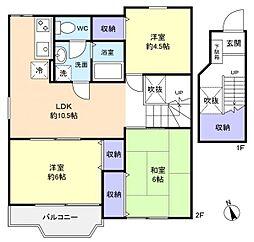 グリーンハイツ稲垣3[2階]の間取り