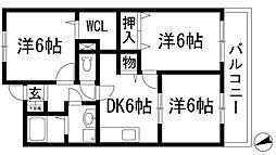 兵庫県宝塚市南ひばりガ丘2丁目の賃貸マンションの間取り