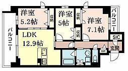 JR東海道・山陽本線 六甲道駅 徒歩7分の賃貸マンション 5階3LDKの間取り
