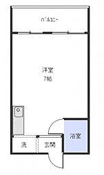広島電鉄9系統 白島駅 徒歩8分の賃貸マンション 2階ワンルームの間取り