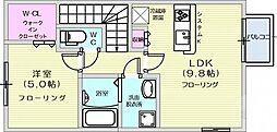 仙台市地下鉄東西線 八木山動物公園駅 徒歩25分の賃貸アパート 2階1LDKの間取り