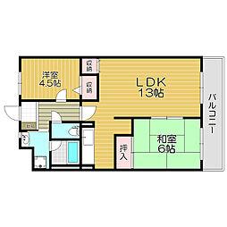 京阪本線 門真市駅 徒歩12分の賃貸マンション 4階2LDKの間取り