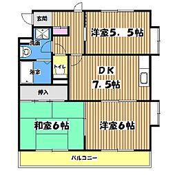 東京都青梅市新町7丁目の賃貸マンションの間取り