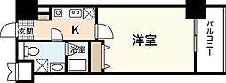 広島電鉄6系統 舟入本町駅 徒歩4分の賃貸マンション 9階1Kの間取り