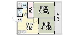 大阪府堺市西区鳳北町6丁の賃貸アパートの間取り