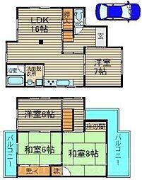 [一戸建] 大阪府堺市北区中百舌鳥町1丁 の賃貸【/】の間取り