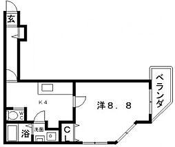 フモセ西田辺[3階]の間取り