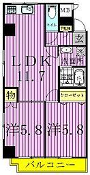 第一スカイハイツ足立[2階]の間取り