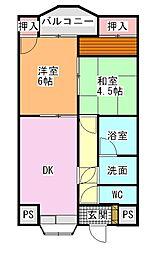 南海高野線 金剛駅 徒歩18分の賃貸マンション 2階2DKの間取り
