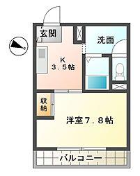 滋賀県東近江市八日市本町の賃貸マンションの間取り