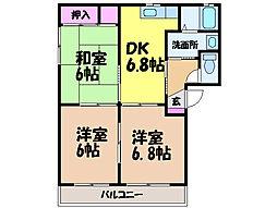 愛媛県松山市雄郡2丁目の賃貸アパートの間取り