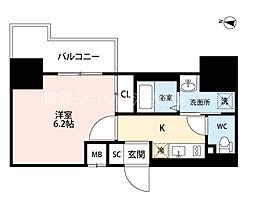Dimus新大阪 2階1Kの間取り