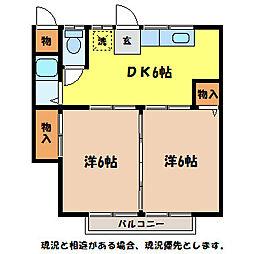 楓青山ハイツB[2階]の間取り