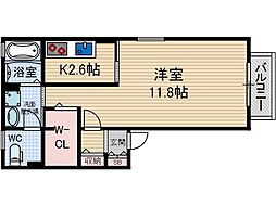 レシェンテ茨木 G棟[2階]の間取り