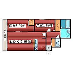 Domeside福住[4階]の間取り