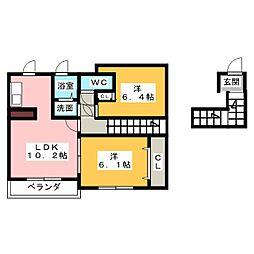 愛知県名古屋市中川区三ツ屋町2丁目の賃貸アパートの間取り