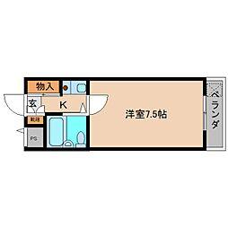 JR和歌山線 北宇智駅 徒歩12分の賃貸マンション 3階1Kの間取り