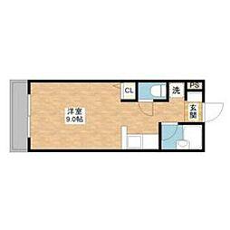 JR長崎本線 道ノ尾駅 徒歩6分の賃貸マンション 3階ワンルームの間取り