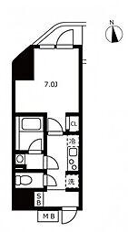 JR山手線 浜松町駅 徒歩3分の賃貸マンション 10階1Kの間取り