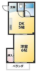 ニュー豊里 2階1DKの間取り