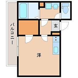 阪神本線 出屋敷駅 徒歩6分の賃貸アパート 1階ワンルームの間取り