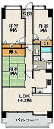 ラヴェニール宝塚中山台ドゥジェーム[4階]の間取り