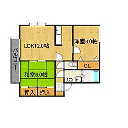 福岡県久留米市通外町の賃貸アパートの間取り