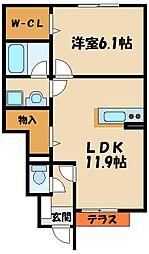 兵庫県神戸市西区玉津町西河原の賃貸アパートの間取り