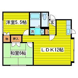 札幌市営東豊線 元町駅 徒歩34分の賃貸アパート 3階2LDKの間取り