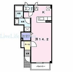 JR徳島線 府中駅 徒歩25分の賃貸アパート 1階1Kの間取り