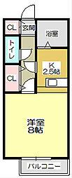 アーバンハイツ瓜生B棟[203号室]の間取り