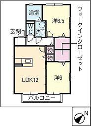 クラベールB[2階]の間取り
