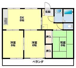 愛知県豊田市田中町3丁目の賃貸マンションの間取り