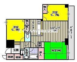 ファミールタワープラザ岡山[11階]の間取り